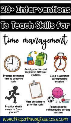 Interventions for Executive Functioning Challenges: Time Management - Home Schooling İdeas Time Management Activities, Time Management Printable, Time Management Strategies, Classroom Management, Time Management For Students, Classroom Behavior, Behavior Management, Social Emotional Learning, Social Skills