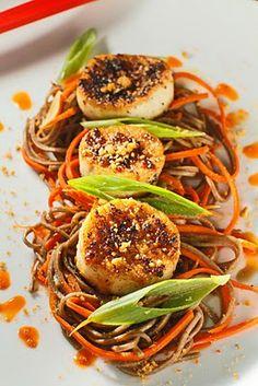 King Oyster Mushroom Scallops over Ponzu Soba Noodles