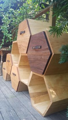 Modern Dresser Chest of Drawers / storage cabinet /honeycomb image 4 Honeycomb Shelves, Hexagon Shelves, Storage Drawers, Chest Of Drawers, Soft Close Drawer Slides, Quarter Sawn White Oak, Artist And Craftsman, Modern Dresser, Red Oak
