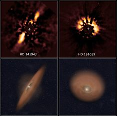 Astronomical Forensics Uncover Planetary Disks in NASA's Hubble Archive   The two images at top reveal debris disks around young stars uncovered in archival images taken by NASA's Hubble Space Telescope. The illustration beneath each image depicts the orientation of the debris disks.