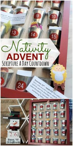 25 Days of Christmas - Nativity Advent Countdown Craft Activities For Kids, Christmas Activities, Crafts For Kids, Christmas Nativity, Christmas Crafts, Christmas Ideas, Holiday Ideas, Christmas Recipes, 25 Days Of Christmas