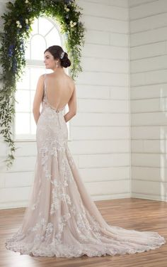 D2362 Ornate Lace Wedding Dress with Dramatic Train by Essense of Australia