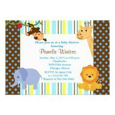Jungle Animal Friends baby shower invitation.