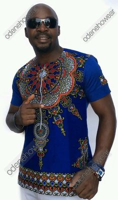 Odeneho Wear Men's Polished Cotton Top With Dashiki by Odenehowear