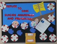 Suicide Awareness bulletin board September Awareness Month, School Nurse Office, College Bulletin Boards, Self Defense Tips, Resident Assistant, Bullen, Health Class, Res Life, School Counseling