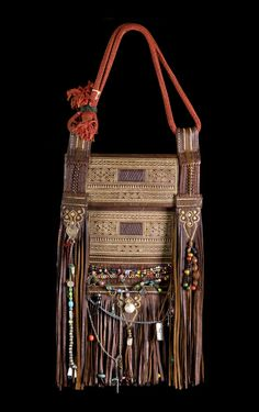 Africa | Berber Decorated Leather Bag | Rif, Morocco