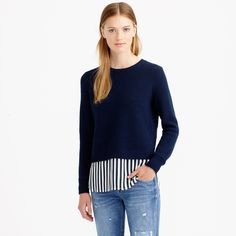 Lambswool shirttail sweater in stripe : new arrivals | J.Crew
