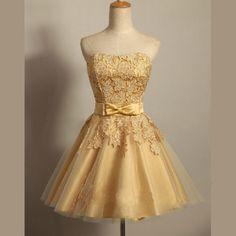 Short custom homecoming dress,applique homecoming dress,newest homecoming Dresses,strapless Homecoming Dress, gold Homecoming Dress,prom dressPD210148