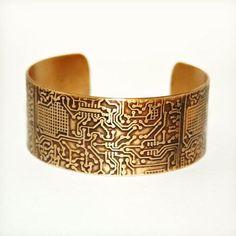 Circuit Board Etched Cuff - Brass or Copper