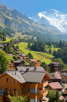 Wengen, Switzerland. Beautiful old chalets, and cars have been banned in the town for more than 100 years.