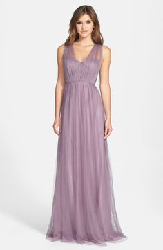 Free shipping and returns on Jenny Yoo 'Annabelle' Convertible Tulle Column Dress at Nordstrom.com. Ethereal tulle overlays a wispy strapless gown designed with long panels that can be artfully wrapped and tied over the bodice to create more than 15 elegant looks.