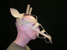 Giraffe mask - 3 by Phil Gyford Cardboard Mask, Cardboard Sculpture, Fox M, Lion King Costume, Lion King Jr, Culture Art, Faber, Puppet Making, Paper Mask