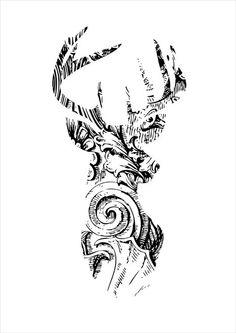 Instant download, deer head print, printable digital graphic, antlers, illustration, animal, woodland, wall art decor by Vinspiro