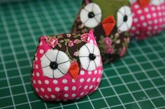 Cute owls simple version .  Free tutorial with pictures on how to make an owl plushie in under 20 minutes by cross stitching and upholstering with fabric and felt. Inspired by creatures, monsters, and owls. How To posted by Brenda D. Difficulty: Simple. Cost: Absolutley free. Steps: 8