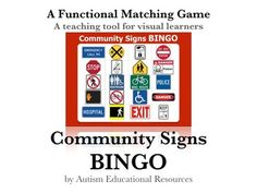 Community Signs Bingo is a functional game that strengthens matching skills and increases awareness about community and safety signs!