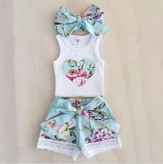Summer Pants Outfits, Short Outfits, Summer Clothes, Outfit Summer, Kids Outfits Girls, Girl Outfits, Baby Girl Fashion, Kids Fashion, Short Niña