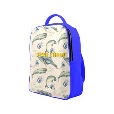 PiccoGrande`s Save The Ocean white-blue-whale Popular Backpack (Model Popular Backpacks, Blue Whale, Octopus, Laptop Sleeves, Underwater, Pu Leather, Back To School, Kids Fashion, Casual Outfits