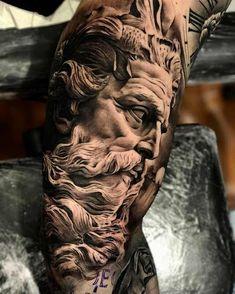 tattoo zeus design - tattoo zeus ` tattoo zeus mythology ` tattoo zeus preto e cinza ` tattoo zeus poseidon ` tattoo zeus greek gods ` tattoo zeus design ` tattoo zeus realismo ` tattoo zeus desenho Zeus Tattoo, Statue Tattoo, Hades Tattoo, God Tattoos, Forearm Tattoos, Body Art Tattoos, Tatoos, Best Sleeve Tattoos, Tattoo Sleeve Designs