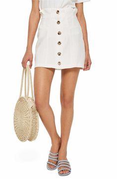 e59473e5f3c Main Image - Topshop Paperbag Waist Button Front Skirt