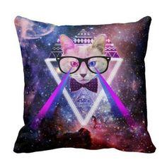 Hipster galaxy cat Pillow