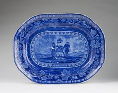 Arms of the States - Delaware. Dark blue platter believed to have been made by Thomas Mayer ca. 1825