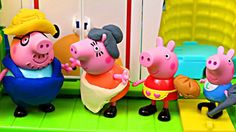 NEW Peppa Pig Play Doh! Peppa Pig Español with Peppa's Family Toys and P...