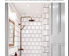 brass bathroom fixtures - Swedish bath with white tile, black ground and bronze-. brass bathroom f Black Bathroom Floor Tiles, Brass Bathroom Fixtures, Bathroom Tile Designs, Bathroom Flooring, Small Bathroom, Bathroom Ideas, White Bathrooms, Bathroom Mold, Bathtub Tile