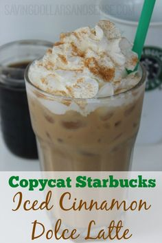 Try making this Copycat Starbucks Iced Cinnamon Dolce Latte at home and save!! Iced Coffee Drinks, Coffee Drink Recipes, Starbucks Recipes, Starbucks Drinks, Keurig Recipes, Starbucks Hacks, Espresso Recipes, Espresso Drinks, Espresso Coffee