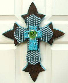 Turquoise and Brown cross Crosses Decor, Wall Crosses, Painted Wooden Crosses, Decorative Crosses, Diy Craft Projects, Diy Crafts, Wood Projects, Craft Ideas, Zebra Bedding