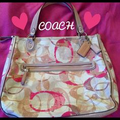 "Large Coach Purse! Pink, White, and Tan Large Coach purse. Approximately 16""W by 13 1/2""H with 3 1/2"" bag width on bottom. Used twice, in great condition!! Only flaw is one tiny dot on back of purse, shown in last picture (inside the C). It is a very gorgeous purse!Thanks for checking it out Coach Bags"