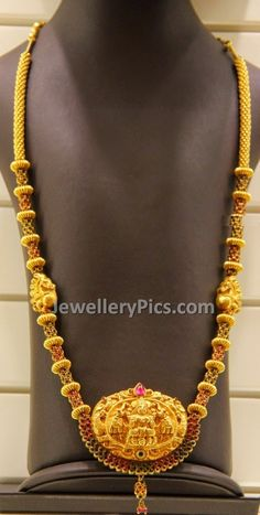 gold dust balls nakshi work haram with temple pendent