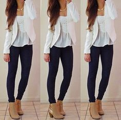 Lace peplum tube top, white blazer paired with ankle boots