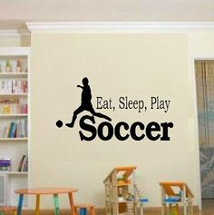 wall decal quote Eat Sleep Play Soccer kids by WallDecalsAndQuotes, $10.95
