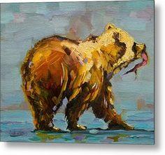 Fishing Bear Metal Print by Diane Whitehead