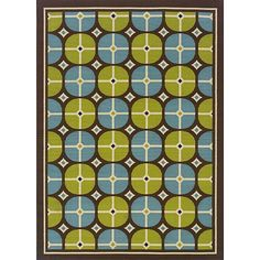 Style Haven StyleHaven Tile Brown/Blue Indoor-Outdoor Area Rug (8'6x13') (Machine-made 100% Polypropylene), Size 8'6 x 13'