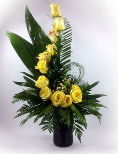 59- Dancing Roses - Yellow #0KUS $75.00 Size12''x22'' Easter Flower Arrangements, Funeral Flower Arrangements, Silk Flower Arrangements, Flower Centerpieces, Altar Flowers, Church Flowers, Funeral Flowers, Ikebana, Tropical Wedding Bouquets