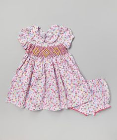 Take a look at this Burgandy Floral Peter Pan Dress + Bloomers by Silly Sissy on #zulily today!
