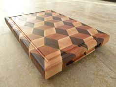 3D cutting board Walnut, Cherry, Maple end grains