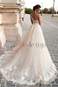 großes Bild 1 Gericht Schleppe Prinzessin Tüll romantisches Brautkleid mit gekappten Ärmeln