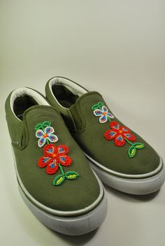 Native American beaded canvas shoes via Etsy.