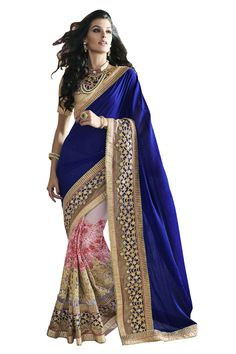 Buy Now Light Pink-Royal Blue Fancy Embroidery Chiffon Half-Half Wedding Wear Saree With Brocade Blouse only at Lalgulal.com. Price :- 4,472/- inr. To Order :- http://goo.gl/grRhkT. COD & Free Shipping Available only in India