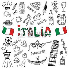 Illustration about Doodle hand drawn collection of Italy icons. Italy culture elements for design. Italia lettering in italian language. Illustration of holiday, italian, italia - 57840914 Italy For Kids, Voyage Rome, Hand Doodles, Travel Doodles, Bullet Journal Travel, Album Jeunesse, Travel Sketchbook, Snapchat Stickers, Michigan Travel