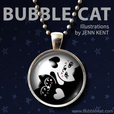 Yin Yang Cats Necklace by Bubble Cat All Illustrations by Jenn Kent Cat Jewelry, Unique Jewelry, Bubble Cat, Cat Necklace, Organza Gift Bags, Glass Domes, Cat Lover Gifts, Yin Yang, Pet Portraits