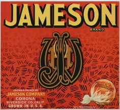 JAMESON Vintage Orange Crate Label