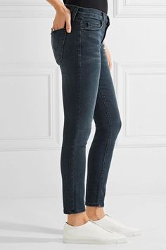 51d6f250fe Current Elliott - The Stiletto Mid-rise Skinny Jeans - Dark denim