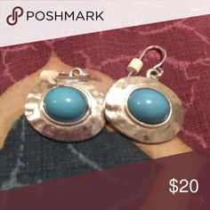 Turquoise Earrings Turquoise and Sterling silver earrings. Very cute on Jewelry