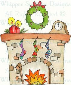 Holiday Fireplace - Christmas Images - Christmas - Rubber Stamps - Shop