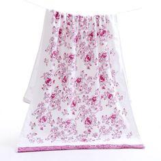 Soft Elegant Floral Design Print Cotton Bath Towels 2 Colors 2 Sizes