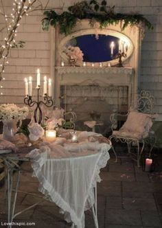 Romantic Patio night home outdoors romantic house candle decorate evening entertain patio candlight