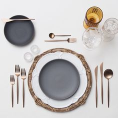 Walnut Florentine Chargers + Signature Collection & Heath Ceramics in Indigo/Slate + Rose Gold Flatware + Vintage Amber/Early American Pressed Glass/Coupe Trios + Antique Crystal Salt Cellars | Casa de Perrin Design Presentation
